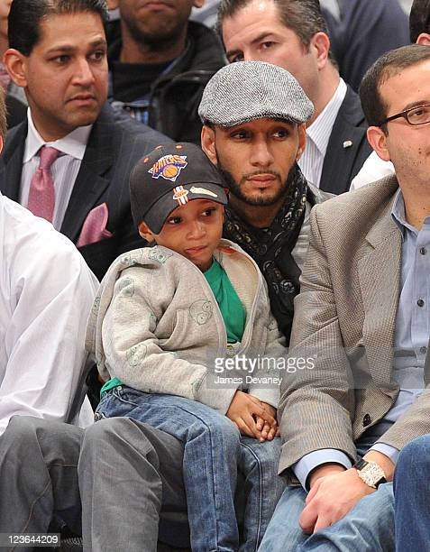 Swizz Beatz and son Kaseem Jr attend New Orleans Hornets vs New York Knicks game at Madison Square Garden on March 2 2011 in New York City