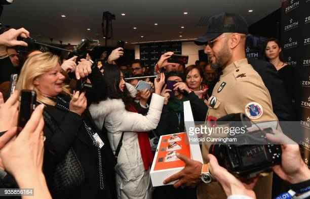 Swizz Beatz attends the Zenith press conference at the Baselworld luxury watch trade fair 2018 on March 21 2018 in Basel Switzerland