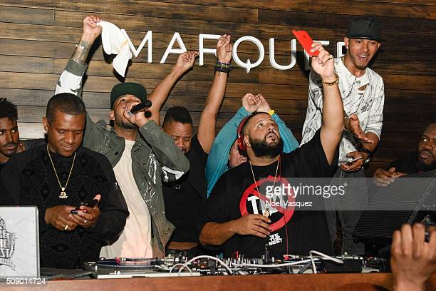 Swizz Beatz Cuba Gooding Jr DJ Khaled and Lewis Hamilton attend the Marquee Takeover at Verso Big Game Weekend presented by Hennessy VS Day 4 on...