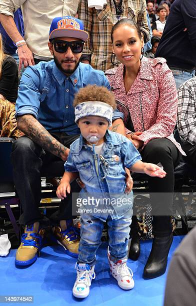 Swizz Beatz Egypt Daoud Dean and Alicia Keys attend the Miami Heat vs New York Knicks Playoff Game at Madison Square Garden on May 6 2012 in New York...