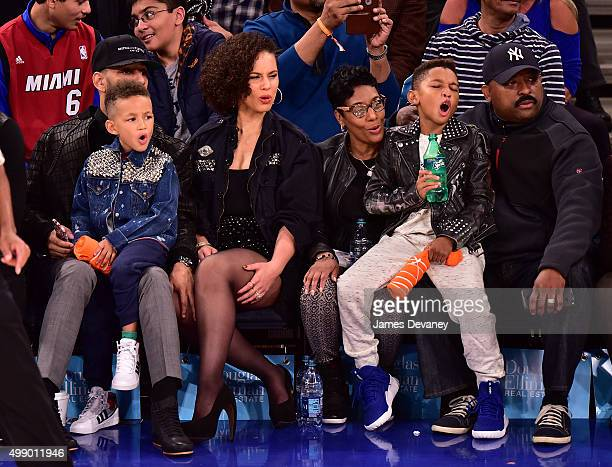 Swizz Beatz Egypt Dean Alicia Keys guest Kasseem Dean Jr and guest attend New York Knicks vs Miami Heat game at Madison Square Garden on November 27...