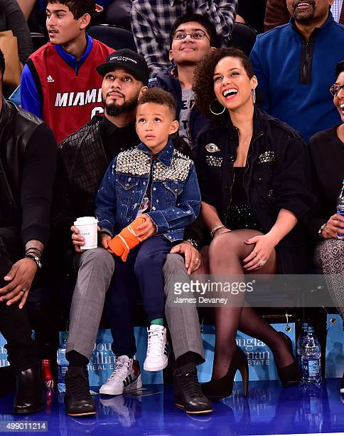 Swizz Beatz Egypt Dean and Alicia Keys attend New York Knicks vs Miami Heat game at Madison Square Garden on November 27 2015 in New York City
