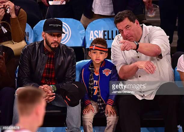 Swizz Beatz Egypt Dean and Steve Schirripa attend the San Antonio Spurs vs New York Knicks game at Madison Square Garden on November 2 2015 in New...