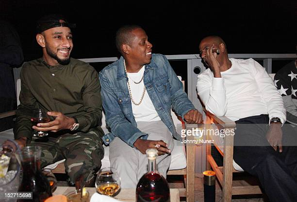 Swizz Beatz Jay Z and 'OG' Juan Perez attend the JayZ And Beyonce Summer Ends With D'USSE Cognac Cocktails Celebration at La Marina Restaurant Bar...