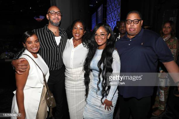 Swizz Beatz, Jeanine McLean, H.E.R. And Jeff Robinson attend the Culture Creators Innovators & Leaders Awards at The Beverly Hilton on June 26, 2021...