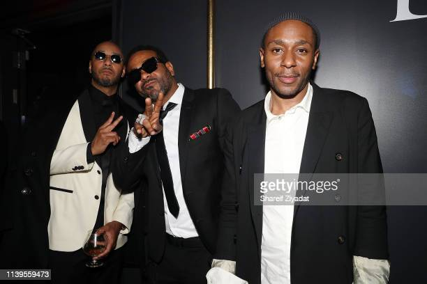 Swizz Beatz, Jim Jones and Mos Def attend Jay-Z Performs At Webster Hall - Backstage at Webster Hall on April 26, 2019 in New York City.