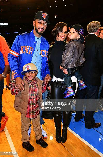 Swizz Beatz Kasseem David Dean Jr Alicia Keys and Egypt Dean attend the Miami Heat vs New York Knicks game at Madison Square Garden on November 2...