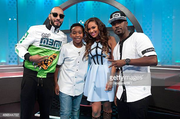 Swizz Beatz Lil Waah Erica Mena and Ray J attend BET's 106 Park at BET studios on October 1 2014 in New York City