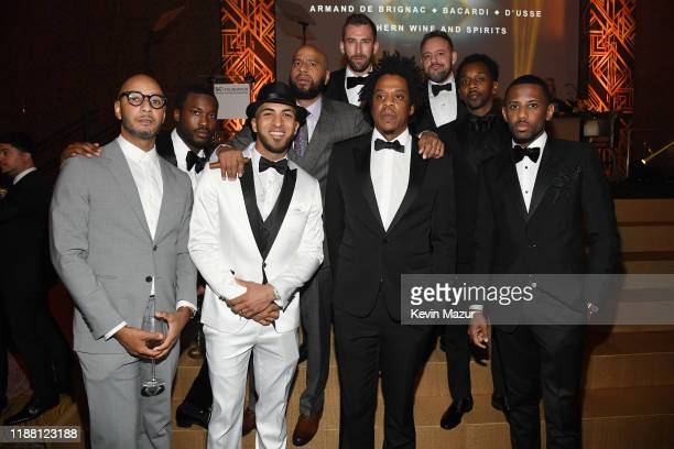 Swizz Beatz Meek Mill Eddie Rosario JAYZ Fabolous Mr Ruggs Alex Todd and Kyle Thousand attend the Shawn Carter Foundation Gala at Hard Rock Live in...