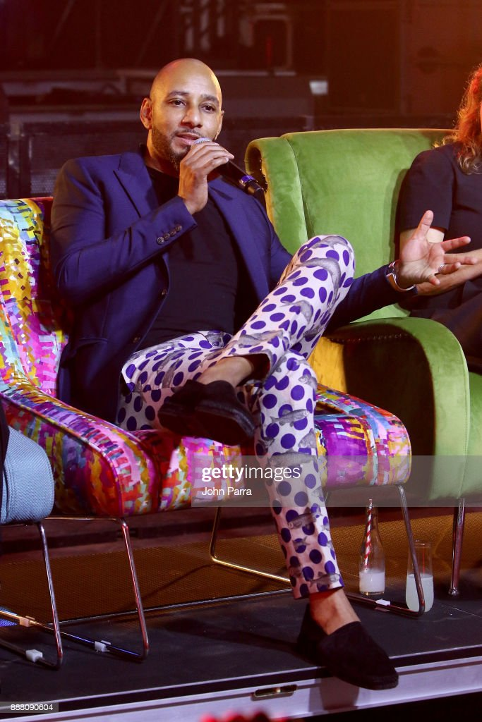 Swizz Beatz speaks onstage as part of the 'Future of Art' panel discussion during the VIP Preview of BACARDI, Swizz Beatz And The Dean Collection Bring NO COMMISSION Back To Miami To Celebrate 'Island Might' at Soho Studios on December 7, 2017 in Miami, Florida.