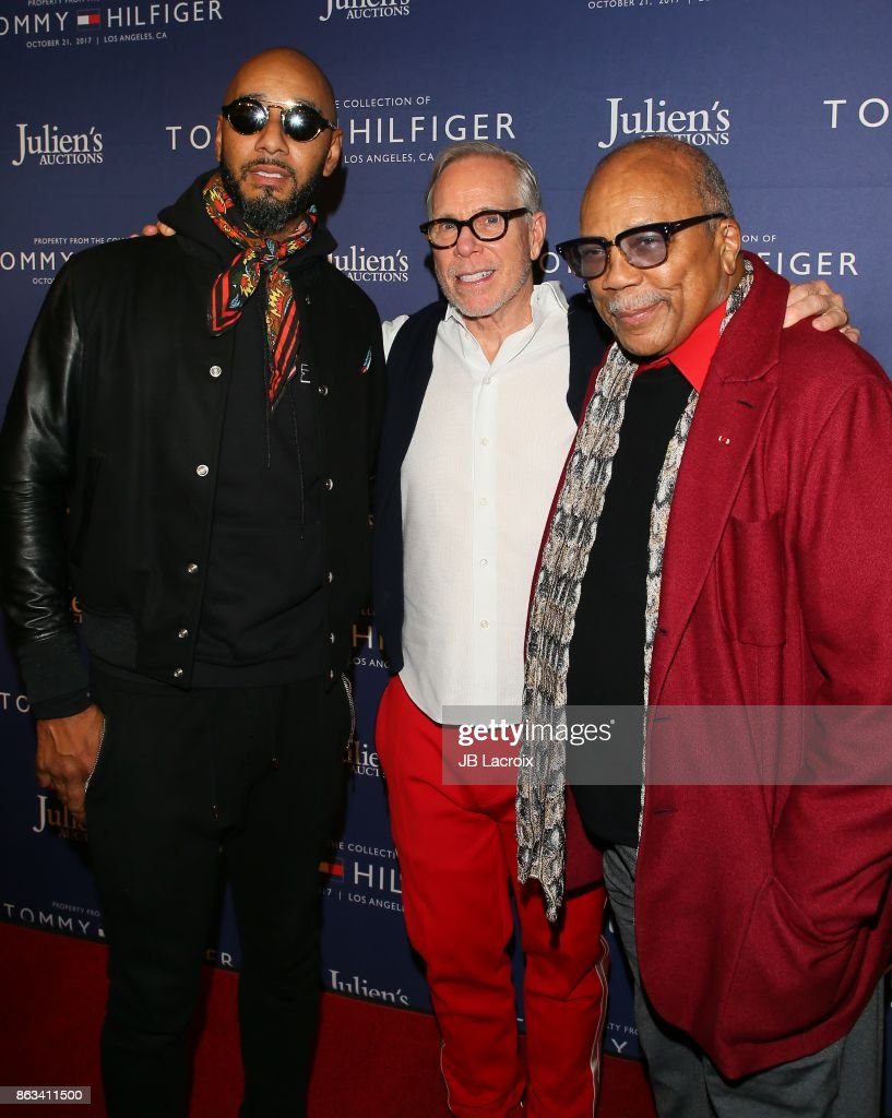 Swizz Beatz, Tommy Hilfiger (L) and composer Quincy Jones attend Julien's Auctions and Tommy Hilfiger VIP reception on October 19, 2017 in Los Angeles, California.