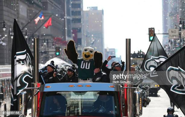 Swoop the Philadelphia Eagles mascot leads off the Eagles Super Bowl Victory Parade on February 8 2018 in Philadelphia Pennsylvania