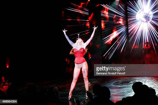 Sword swallower Lucky Hell performs on stage during the 'Paris Merveilles' Lido New Revue Opening Gala on April 8 2015 in Paris France