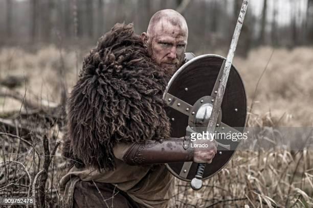 schwert schwingende blutigen wikinger-krieger allein in einen winterwald - nordeuropäischer abstammung stock-fotos und bilder