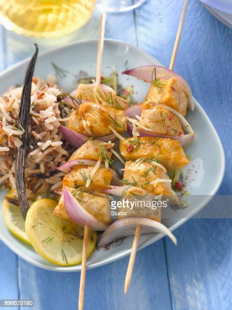 Swordfish brochettes with ginger and vanilla-flavored oil