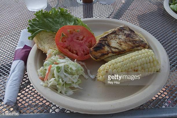 swordfish sandwich with corn on the cob and salad
