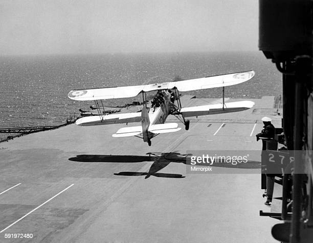 A Swordfish taking off from the deck of HMS ARK Royal the flying commander is watching from flight May 1939 P000108