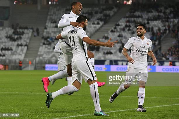 Syam Ben Youssef for Stade Malherbe de Caen reacts after his goal with Sylvio Rodelin and Andy Delort during the French Ligue 1 game between FC...