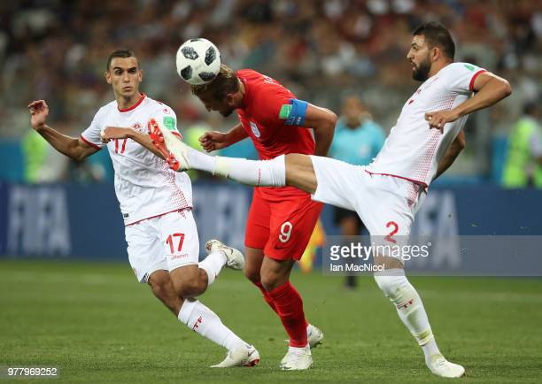 Syam Ben Youssef of Tunisia vies with Harry Kane of England during the 2018 FIFA World Cup Russia group G match between Tunisia and England at...