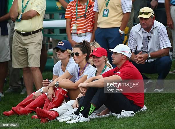 Sybi Kuchar and Olympic skiier Lindsey Vonn watch the action with Kandi and Hunter Mahan on the 15th hole during the Day Three Fourball Matches at...