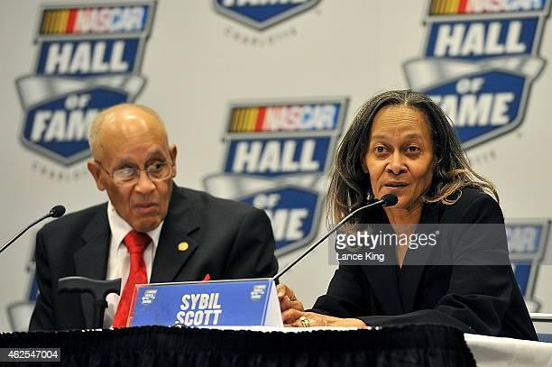 Sybil Scott and Wendell Scott Jr. , children of NASCAR Hall of Famer Wendell Scott, speak with the media after the 2015 NASCAR Hall of Fame Induction...