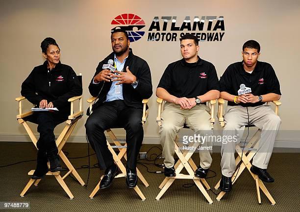 Sybil Scott, daughter of NASCAR legend Wendell Scott, Marcus Jadotte, managing director of public affairs, NASCAR Drive for Diversity drivers Ryan...