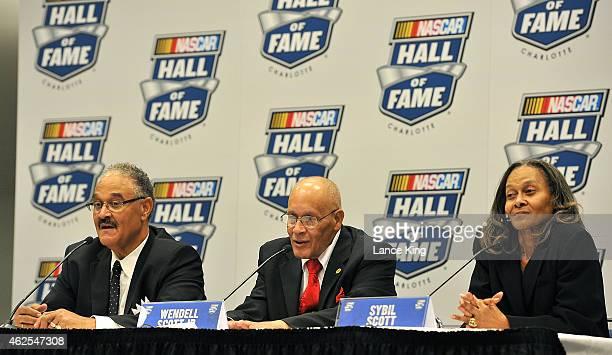 Sybil Scott, Wendell Scott Jr., and Franklin Scott, children of NASCAR Hall of Famer Wendell Scott, speak with the media after the 2015 NASCAR Hall...