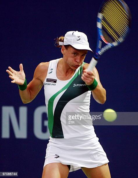 Sybille Bammer of Australia hits a return to Kai Chen Chang of Taiwan during their quarter-final match of the WTA Malaysian Open 2010 Tennis...