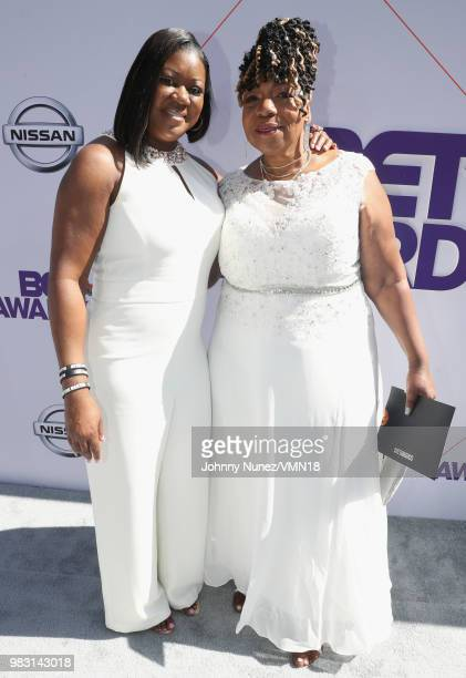 Sybrina Fulton and Gwen Carr attend the 2018 BET Awards at Microsoft Theater on June 24 2018 in Los Angeles California