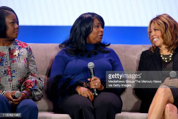 Sybrina Fulton left mother of Trayvon Martin and from Trayvon Martin Foundation Rev Wanda Johnson CEO Oscar Grant Foundation and Rep Lucy McBath...
