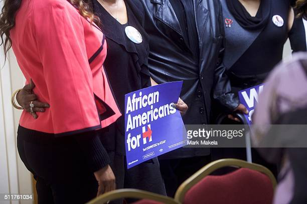 Sybrina Fulton mother of Trayvon Martin whose son was killed due to gun violence poses for photos with audience members following a Hillary Clinton...