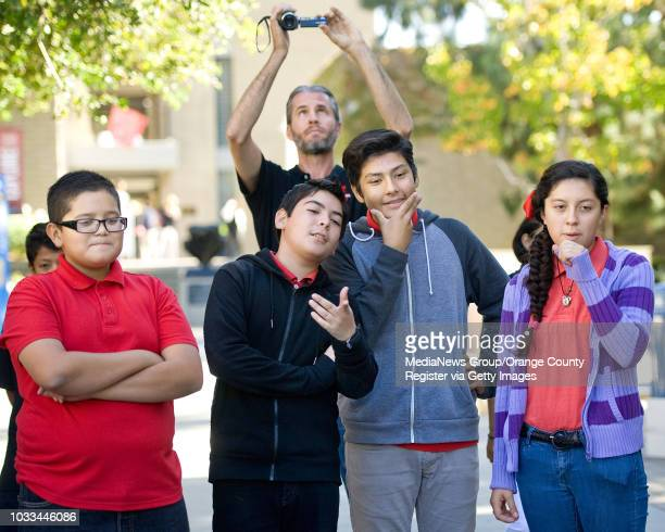 Sycamore Junior High School students from Anaheim nervously watch as their selfmade device launches a billiard ball during the annual Jet Propulsion...