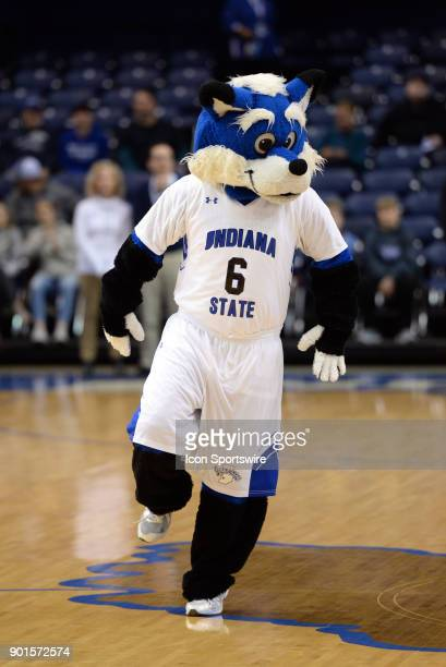 Sycamore Sam walks around the court before the start of the college basketball game between the Valparaiso Crusaders and the Indiana State Sycamores...