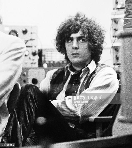 Syd Barrett founding singer songwriter and guitarist of Pink Floyd at a 1967 BBC Radio taping during Music File Photos The 1960s by Chris Walter at...