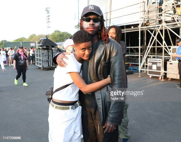 Syd Tha Kid of The Internet and Dev Hynes of Blood Orange pose backstage for Day 1 of 2019 Governors Ball Music Festival at Randall's Island on May...