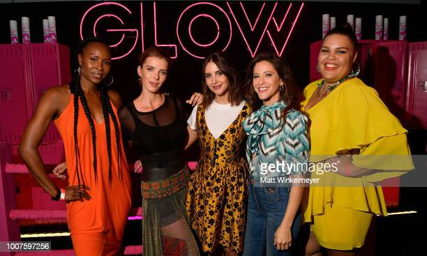 "Sydelle Noel, Betty Gilpin, Alison Brie, Jackie Tohn, and Britney Young attend Netflix's ""Glow"" celebrates its 10 Emmy Nominations with..."