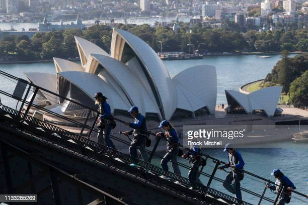Sydenysiders make their up the Harbour Bridge on March 03 2019 in Sydney Australia Sydney Bridge Climb is celebrating 10 years as as supporter of the...