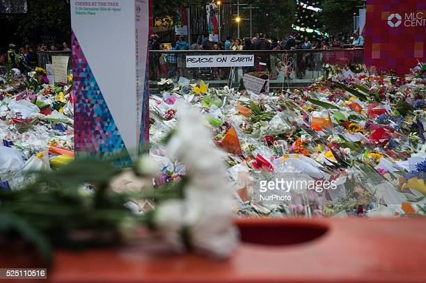 Sydney 17 December 2014 A sea of flowers at a makeshift memorial near the scene of a fatal siege in the heart of Sydney's financial district where...