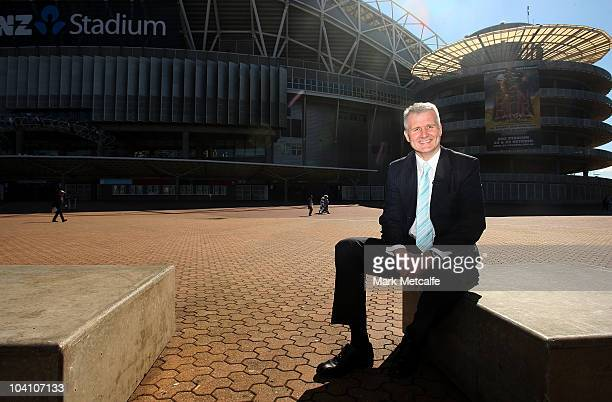 Sydney 2000 flag bearer Andrew Gaze poses outside ANZ Stadium as part of celebrations marking the 10th anniversary of the Sydney 2000 Olympics at...