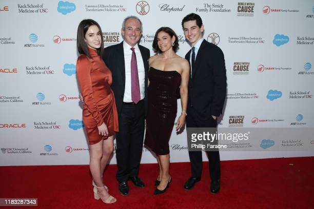 Sydney Agus Dr David Agus and Amy Povich and Miles Agus attend the Rebels With A Cause Gala 2019 at Lawrence J Ellison Institute for Transformative...