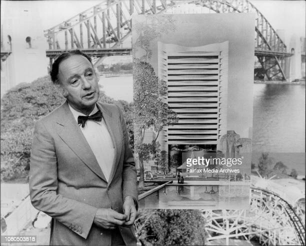 Sydney Architect Mr Harry Seidler photographed in his Nth Sydney office with design of $40 Million Hong Kong Club June 22 1981