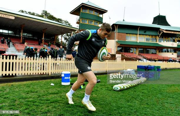 Sydney Australia 18 June 2018 Jordan Larmour arrives for Ireland rugby squad training at North Sydney Oval in Sydney Australia