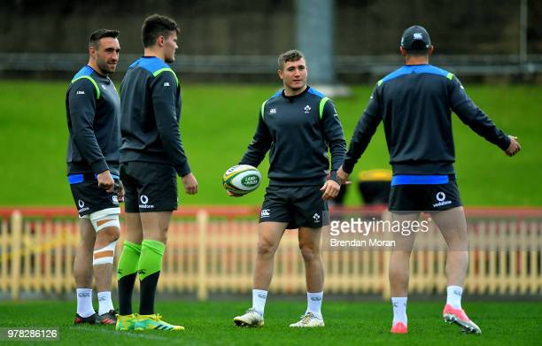 Sydney Australia 18 June 2018 Jordan Larmour centre with teammates from left Jack Conan Jacob Stockdale and Rob Kearney during Ireland rugby squad...