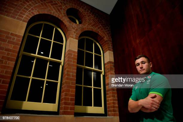 Sydney Australia 18 June 2018 Jordan Larmour poses for a portrait after an Ireland rugby press conference in Sydney Australia