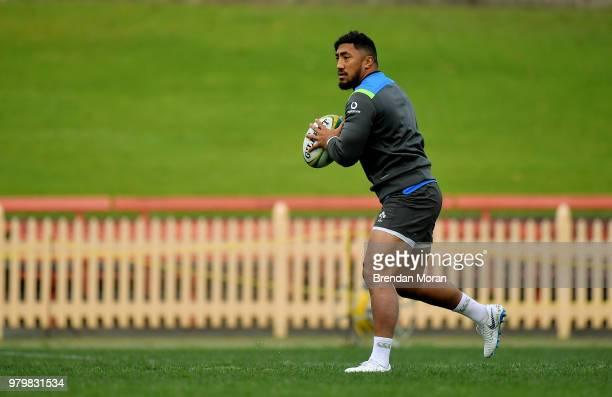 Sydney Australia 21 June 2018 Bundee Aki during Ireland rugby squad training at North Sydney Oval in Sydney Australia