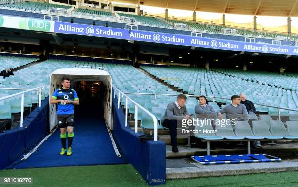 Sydney Australia 22 June 2018 Captain Peter O'Mahony arrives for the Ireland rugby squad captain's run as injured players Dan Leavy Andrew Conway and...