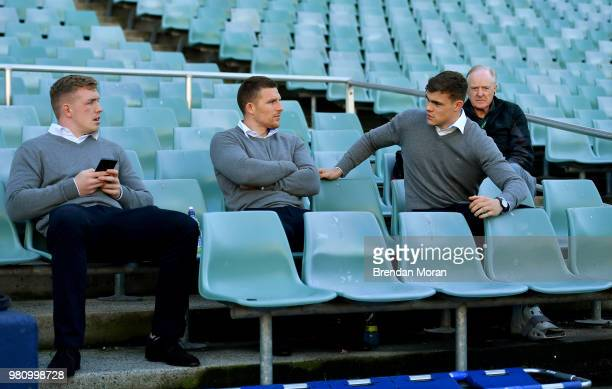Sydney Australia 22 June 2018 Injured players from left Dan Leavy Andrew Conway and Garry Rngrose sit out the Ireland rugby squad captain's run at...