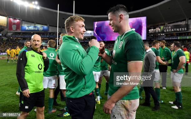 Sydney Australia 23 June 2018 Dan Leavy left and James Ryan of Ireland celebrate after the 2018 Mitsubishi Estate Ireland Series 3rd Test match...