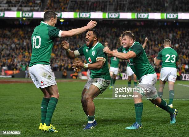 Sydney Australia 23 June 2018 Ireland players from left Jonathan Sexton Bundee Aki and Jordi Murphy celebrate at the final whistle of the 2018...