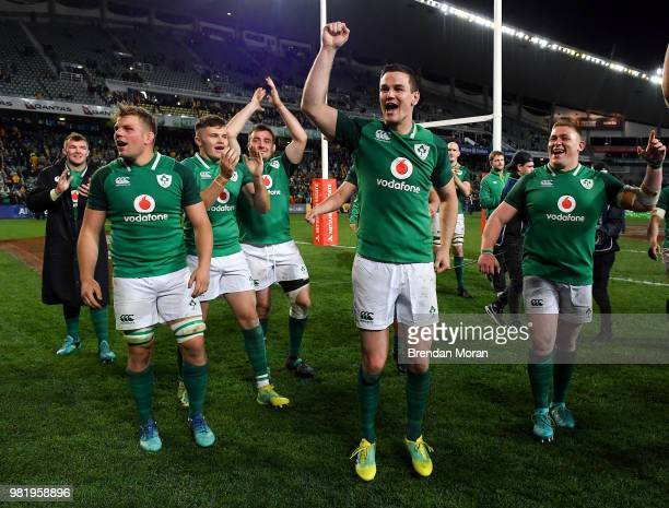 Sydney Australia 23 June 2018 Ireland players from left Peter O'Mahony Jordi Murphy Jacob Stockdale Niall Scannell Jonathan Sexton and Tadhg Furlong...